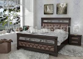 Здесь изображено Кровать Лира-2 с мягкой вставкой и ковкой