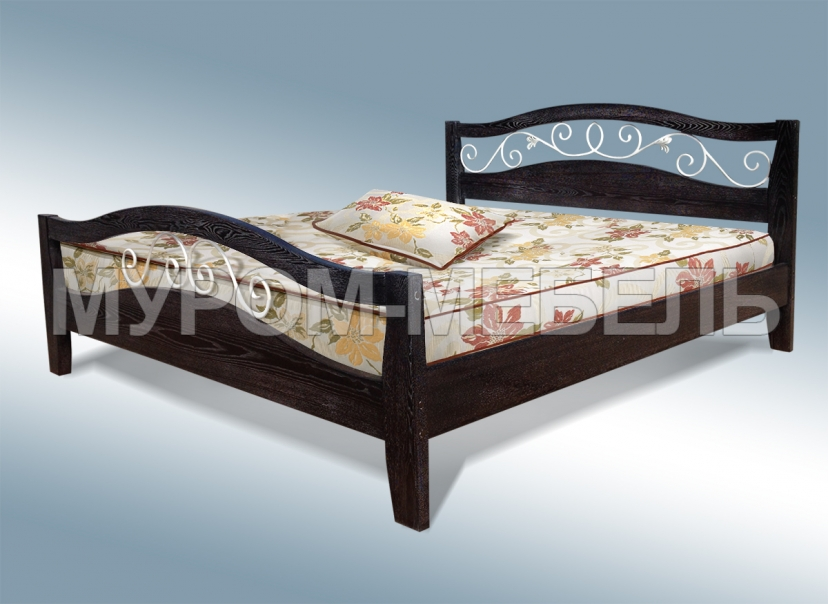 Здесь изображено Кровать Алиса с ковкой из дуба
