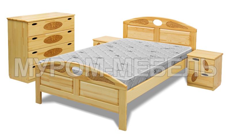 Здесь изображено Кровать Галатея из дуба