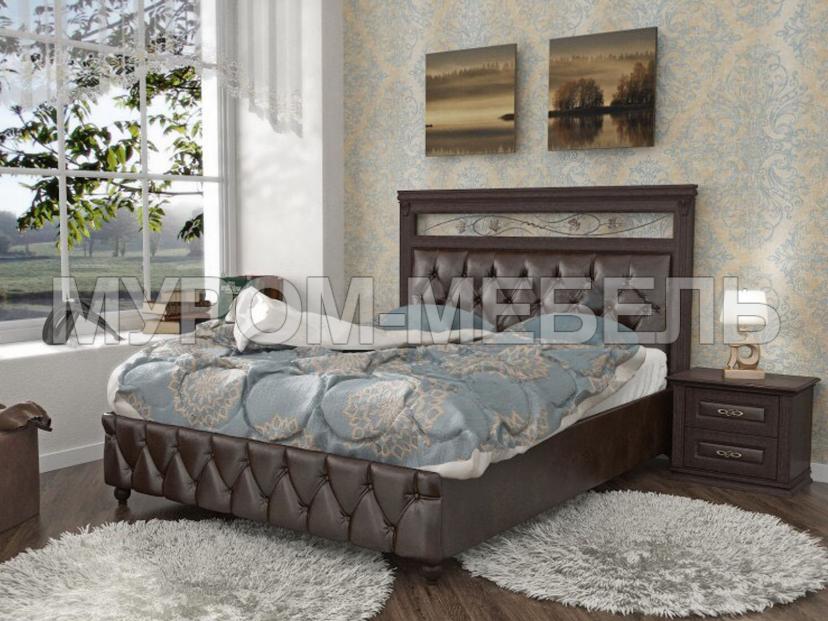 Здесь изображено Кровать Лира-3 с мягкой вставкой и ковкой