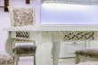 Здесь изображено Кухонный стол Лотос (фисташка с коричневой патиной)