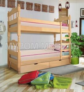 Здесь изображено Кровать двухъярусная точеная