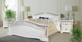 Здесь изображено Кровать Милена (сосна, резьба береза) с ящиками