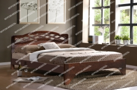 Здесь изображено Кровать Вирсавия (сосна, резьба береза) с ящиками