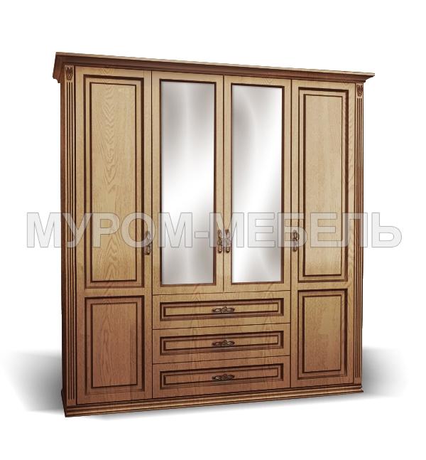 Здесь изображено Шкаф 4-створчатый из сосны из серии