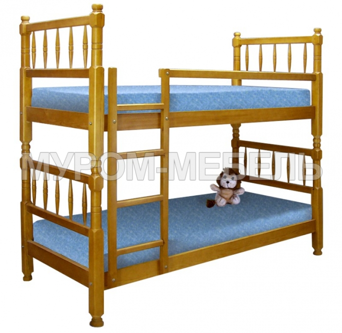 Здесь изображено Кровать двухъярусная Детская точеная