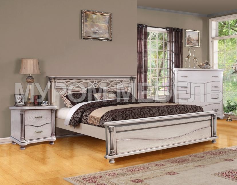 Здесь изображено Спальный гарнитур Мелиса из дуба